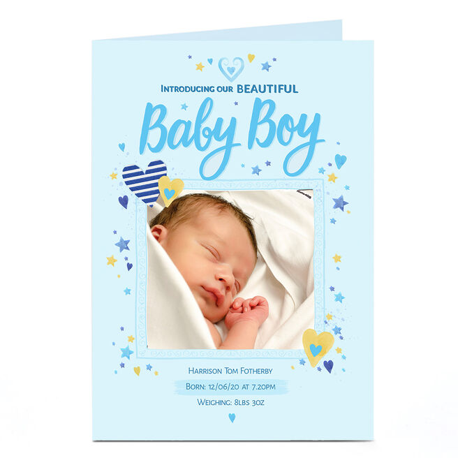 Photo New Baby Announcement Card - Beautiful Boy