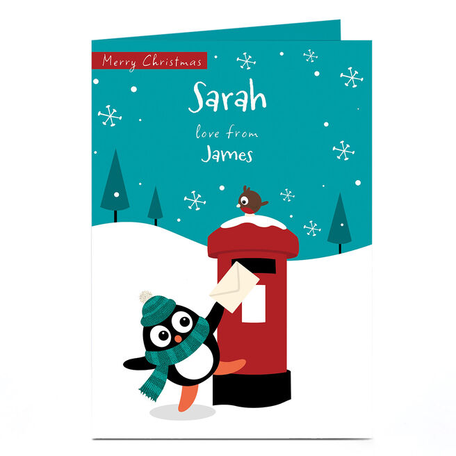 Personalised Christmas Card - Penguin Post