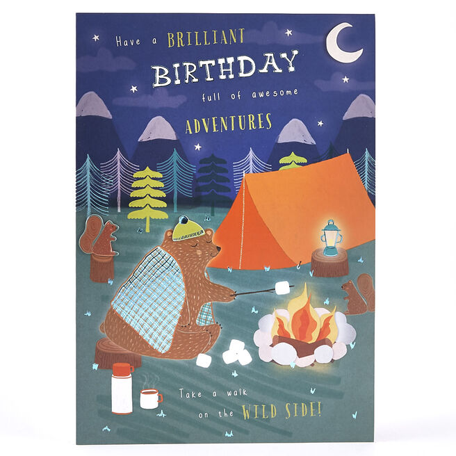 Birthday Card - Camping Bear