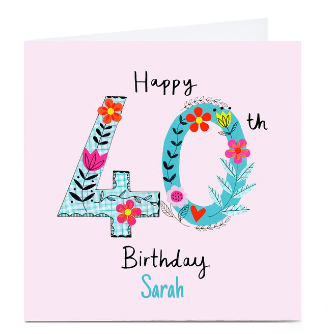 Personalised Lindsay Loves To Draw 40th Birthday Card