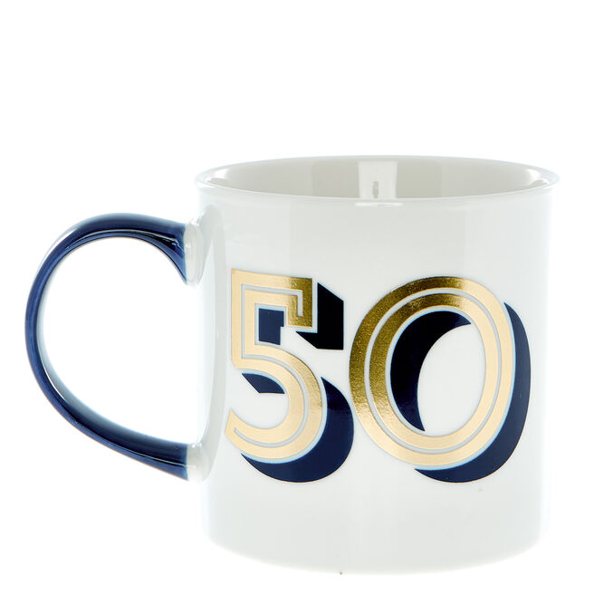 50th Birthday Mug In A Box - Blue & Gold
