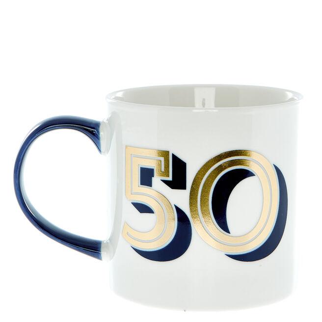 50th Birthday Mug In A Box - Blue & Gold