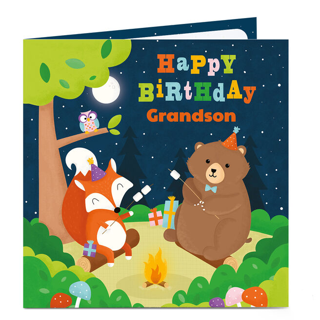 Personalised Birthday Card - Animals Camping [Grandson]