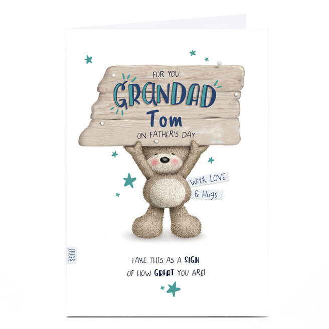 Personalised Father's Day Card - To My Grandad, Hugs Bear