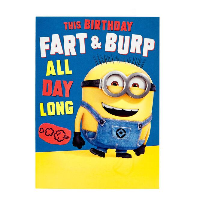 Minions Birthday Card - Fart & Burp