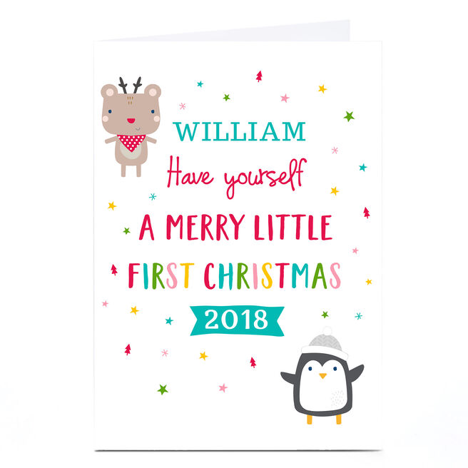 Personalised Christmas Card - Merry Little First Christmas