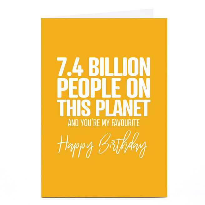 Personalised Punk Birthday Card - 7.4 Billion People