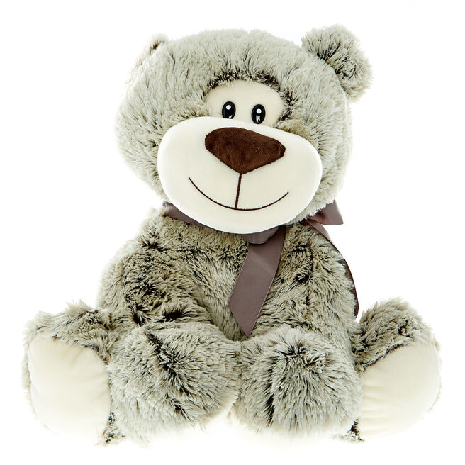 Giant Grey Bear With Bow Soft Toy