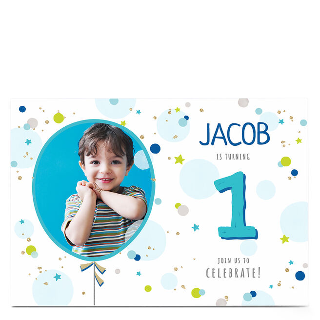 Photo Birthday Invitation - Blue Balloons