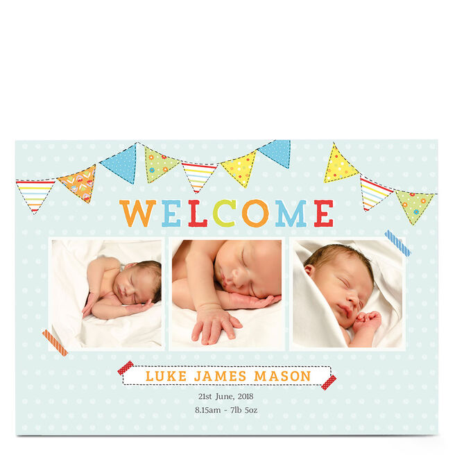Photo New Baby Card - Welcome Bunting