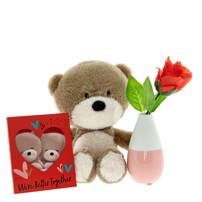 Hugs Bear Soft Toy, Vase & Rose Gift Set