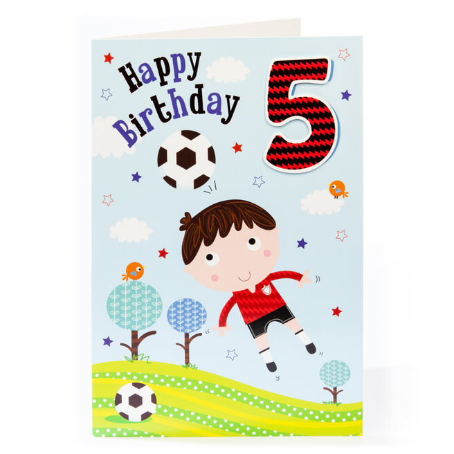 Giant 5th Birthday Card - Footballer