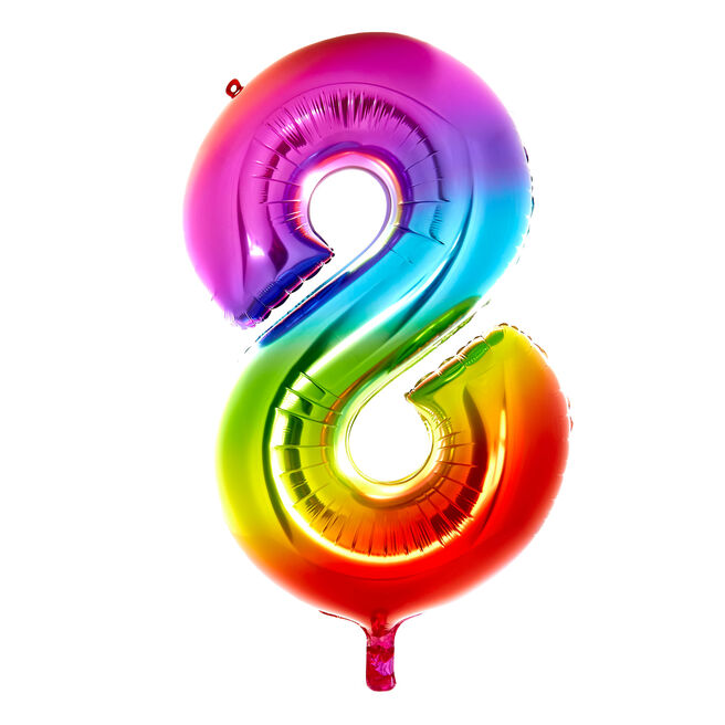 Giant Rainbow Number 8 Foil Helium Balloon - DEFLATED