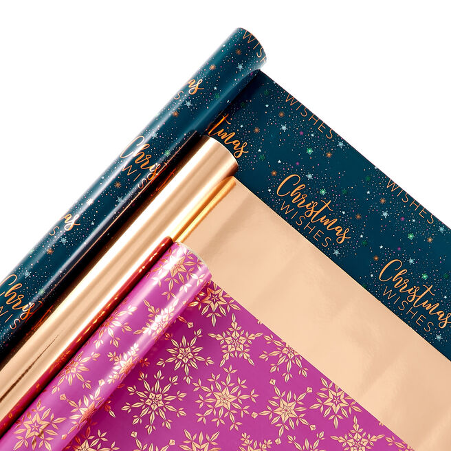 Pink, Navy & Copper Christmas Wrapping Paper Rolls - Pack Of 3