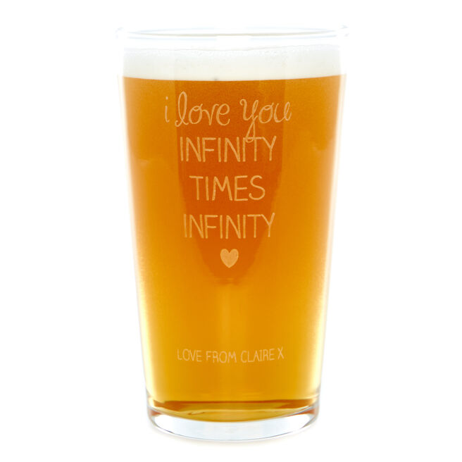 Personalised Infinity Times Infinity Beer Pint Glass
