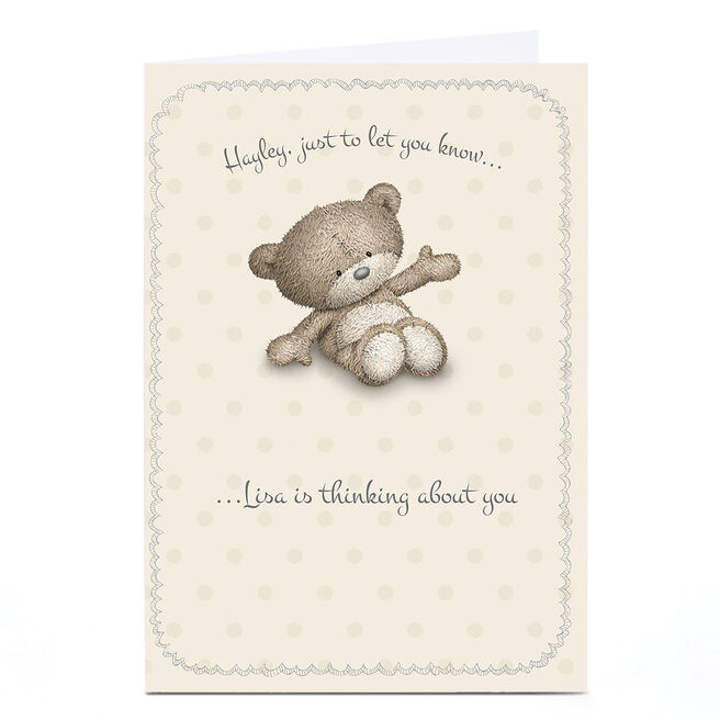 Personalised Hugs Bear Card - Thinking About You