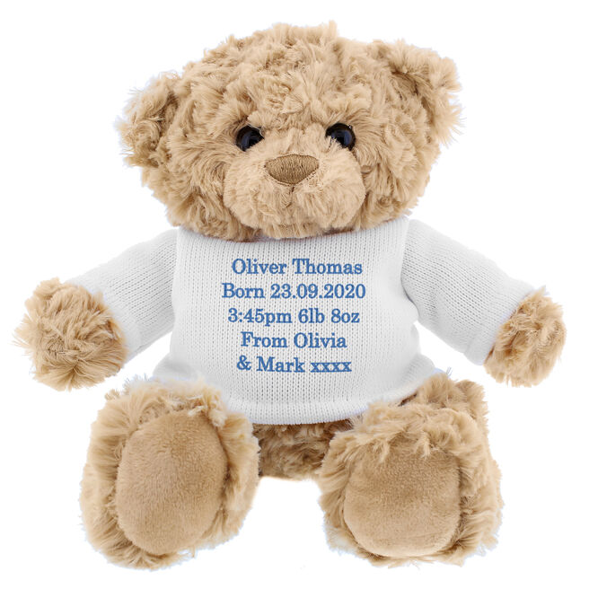 Teddy Bear With Personalised T-Shirt - Blue