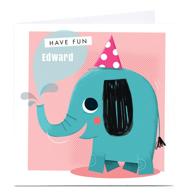 Personalised Hello Munki Card - Cute Elephant