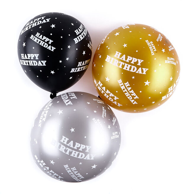 Black & Gold Latex Birthday Balloons