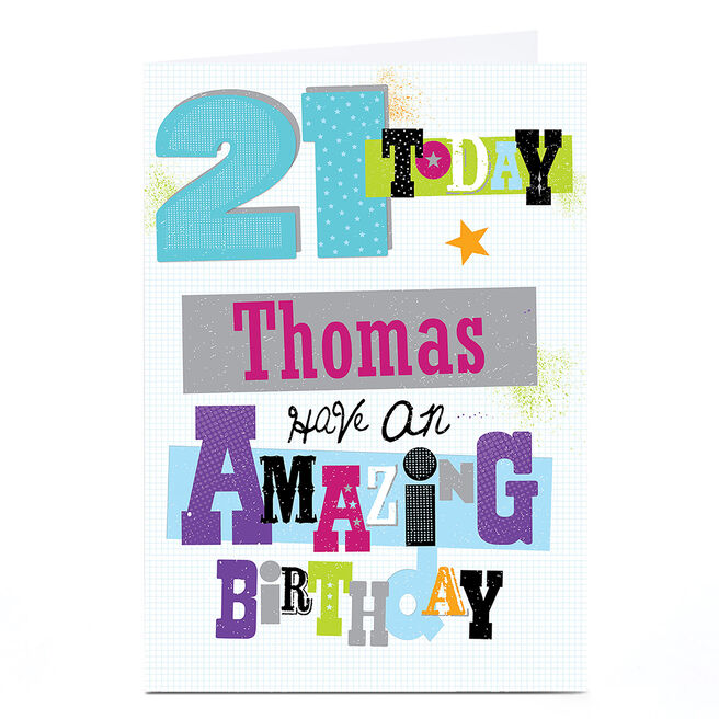 Personalised 21st Birthday Card - Amazing