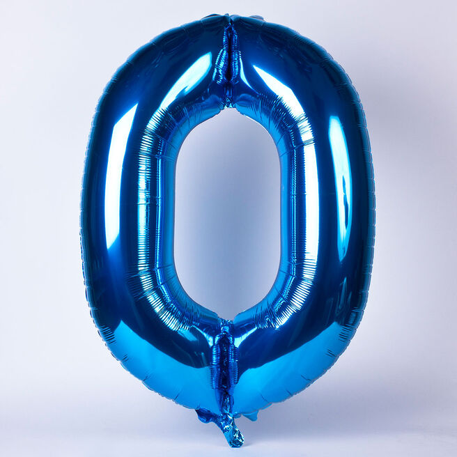 Blue Number 0 Giant Foil Helium Balloon - INFLATED