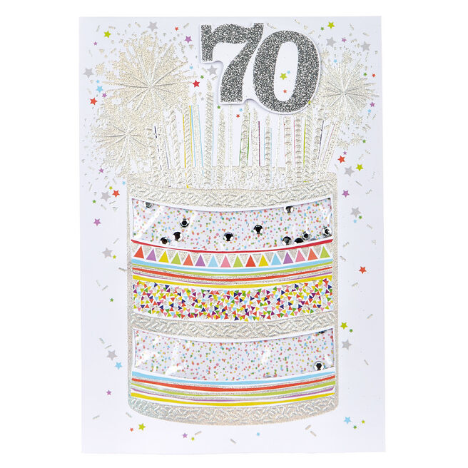70th Birthday Card - Silver Cake & Candles