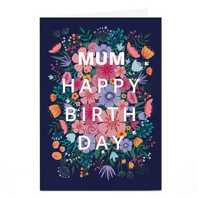 Personalised Dalia Clark Birthday Card - Pink & Blue Floral