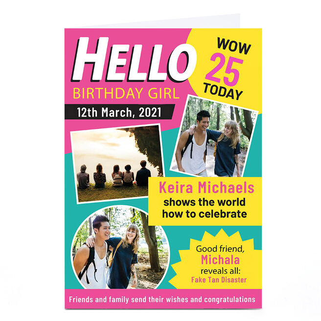 Personalised Birthday Photo Card - Hello Magazine