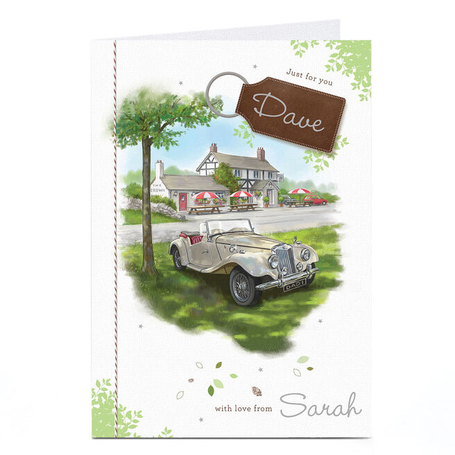 Personalised Birthday Card - Just For You, Pub & Car
