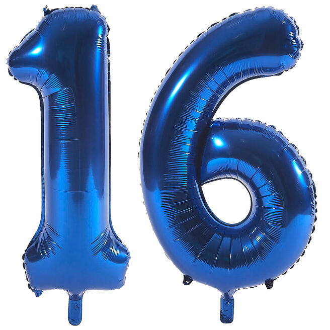 Age 16 Giant Foil Helium Numeral Balloons - Blue (deflated)