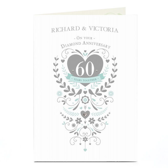 Personalised 60th Anniversary Card - Silver Heart