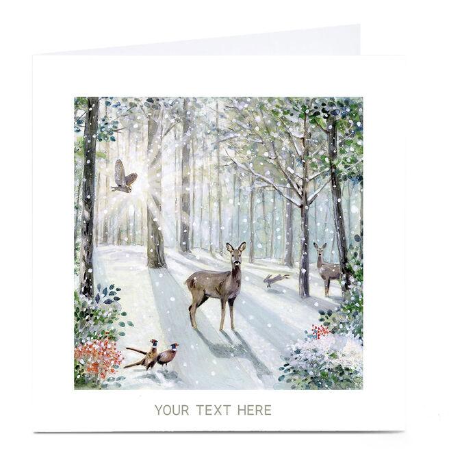 Personalised Christmas Card - Snowy Woodland Scene