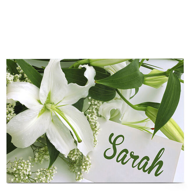 Personalised Card - White Lily