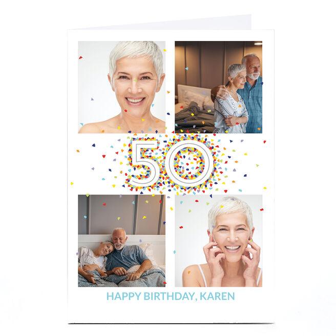 Photo 50th Birthday Card - 4 Photos, Confetti