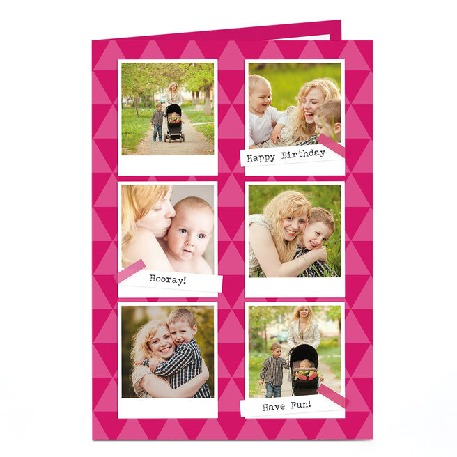 Photo Birthday Card - Pink Triangles