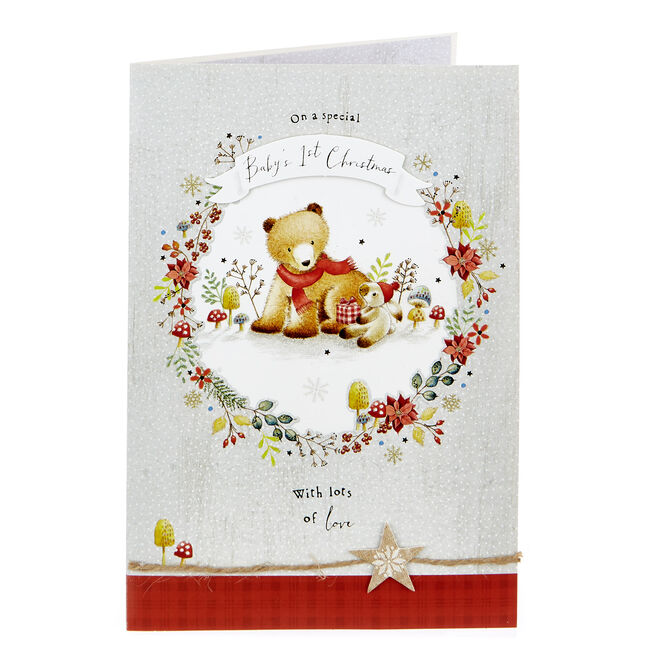 Baby's 1st Christmas Card - Bear & Bunny