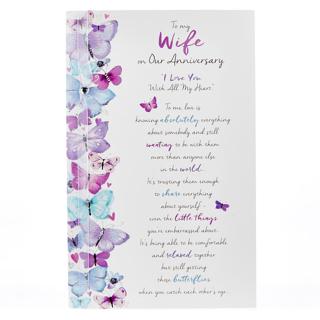 Anniversary Card - To My Wife, Butterflies
