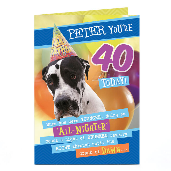 Personalised Any Age Birthday Card - All-Nighter Dog