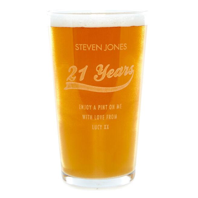 Personalised Birthday Years Pint Glass