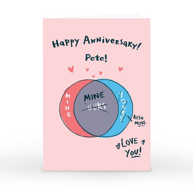 Personalised Hew Ma Anniversary Card - Venn Diagram