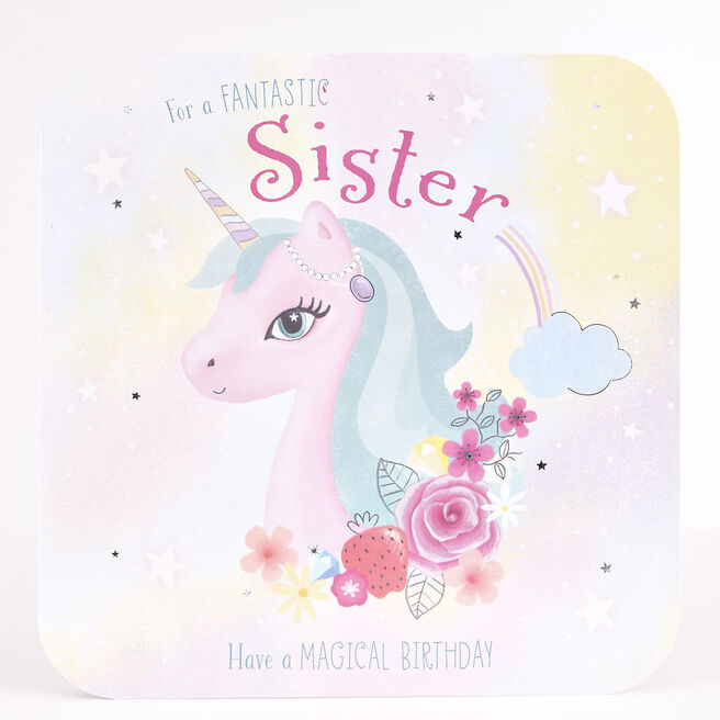 Platinum Collection Birthday Card - Sister, Unicorn