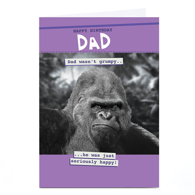 Personalised Quitting Hollywood Birthday Card - Dad, Gorilla