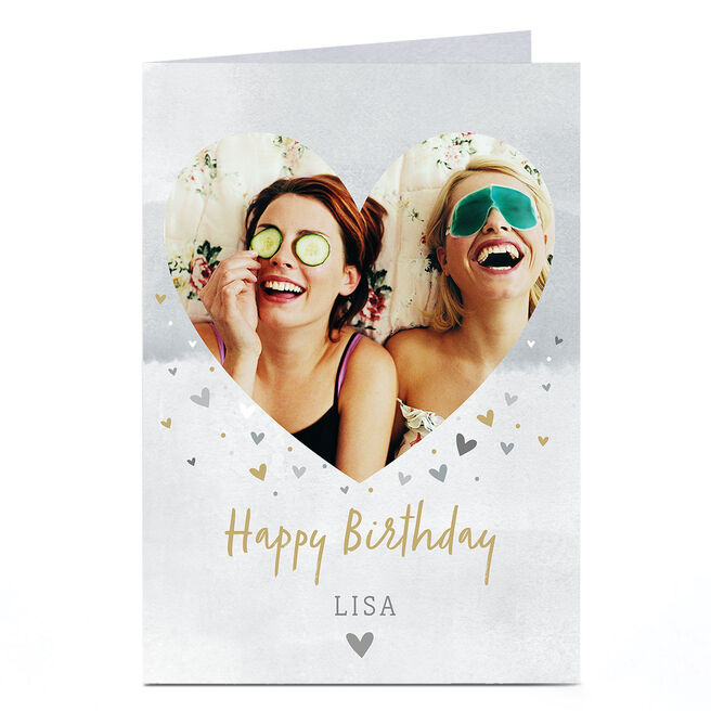 Photo Birthday Card - Gold & Silver Hearts