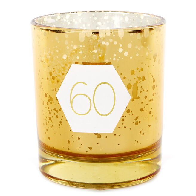 Gold Vanilla Scented 60th Birthday Candle