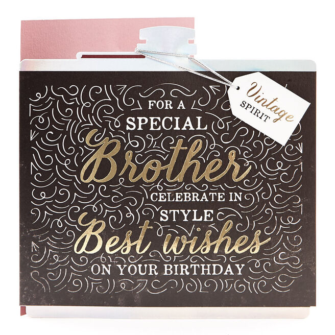 VIP Collection Birthday Card - Brother, Hip Flask