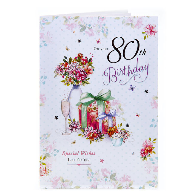 80th Birthday Card - Special Wishes Just For You
