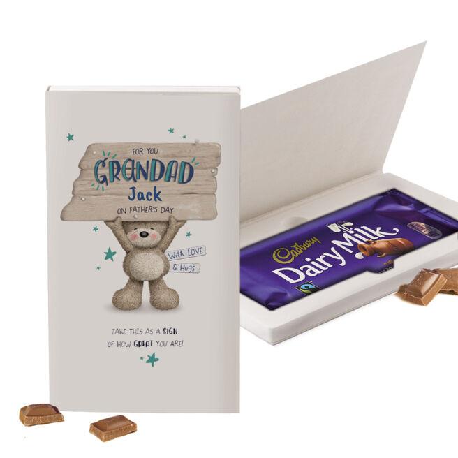 Personalised Cadbury Dairy Milk Chocolate Grandad Hugs Father's Day Card