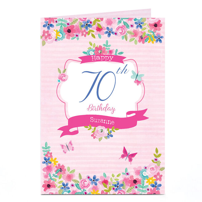 Personalised Any Age Birthday Card - Stripes & Flowers