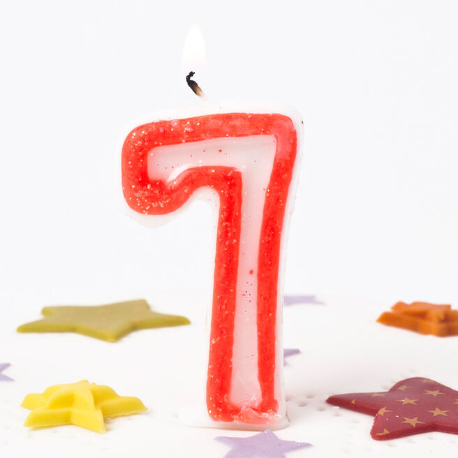 Pink Glittery Number 7 Birthday Candle