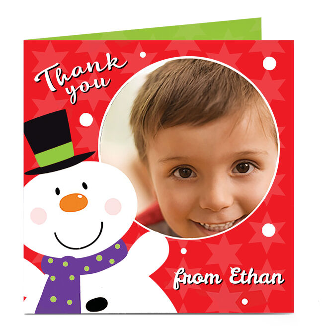 Photo Christmas Thank You Card - Red Snowman